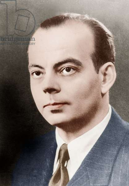 Antoine de Saint Exupery (1900-1944) French pilot and writer, 20's, colourized document