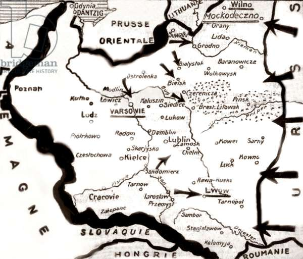 map of the invasion of Poland by Germany september 1939