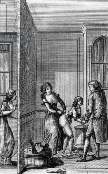 """Engraving to illustrate to book by the marquis de Sade """"La Nouvelle Justine ou les Malheurs de la vertu"""" (1799)"""