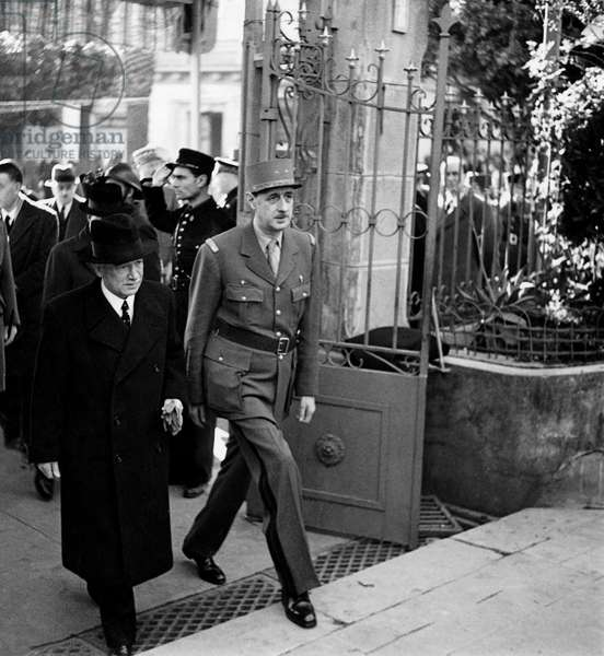 General de Gaulle and President Benes january 30, 1944 arriving at the Brazzaville colonial conference bringing together the representatives of the French territories of Africa Congo