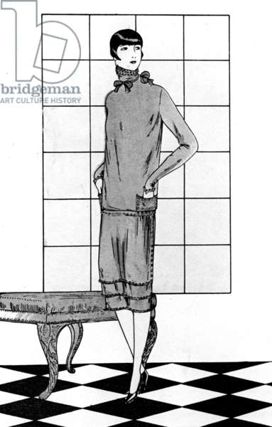 Jenny clothe : chinese crepe dress , drawing published in French magazine, 1925