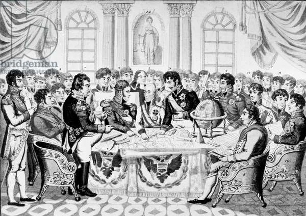 meeting of the plenipotentiairies at Congress in Vienna, 1814-1815 to outline the map of Europe, engraving by J.Zutz