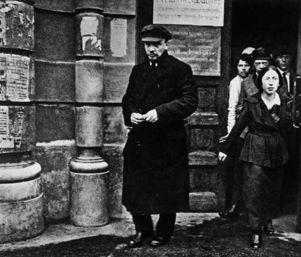 Lenin (Vladimir Illitch Oulianov 1870-1924) soviet communist leader here with Krovjskaia leaving 1st congress of teachers of Russia in Moscow on august 28, 1918