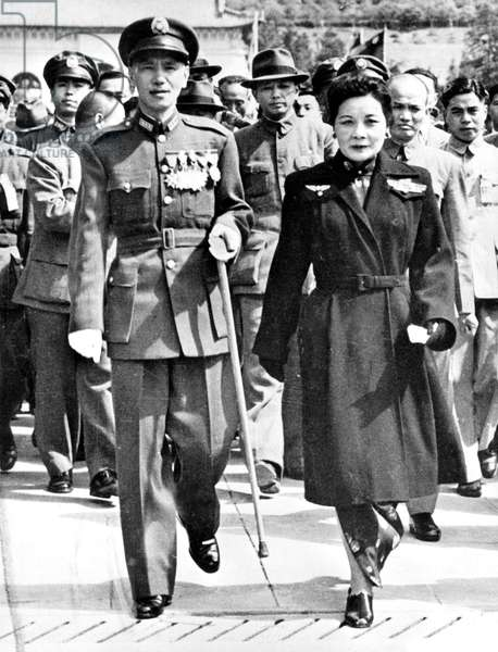 Tchang Kai Chek or Jiang Jieshi (1887-1975) chinese statesman here with his wife after his reelection as president of chinese republic october 11, 1946