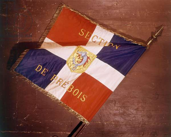 Flags of French Legion of Combatants (government of Vichy), in Prebois, France, ww2