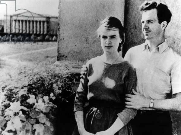 A 1961 photograph made in the Soviet Union shows Lee Harvey Oswald and his bride Marina soon after their mariage in Minsk where Oswald was working in a factury and his wife was a practicing pharmacist he brought his wife to the US the following year photo NARA