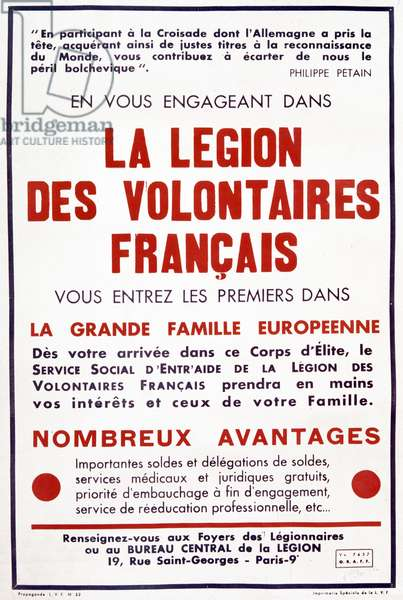 French propaganda poster of Vichy government for LVF c. 1941 (Legion of French Volunteers Against Bolshevism)