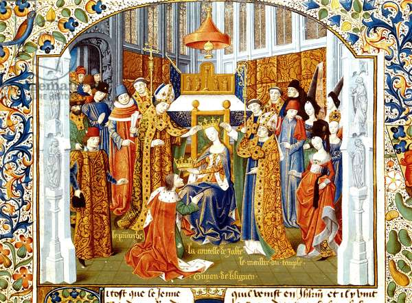 coronation of Guy de Lusignan and Sybille king of Jerusalem in 1186-1192 is an illumination extracting from the manuscript entitled Historia writes by Guillaume de Tyr and preserved in the BNf