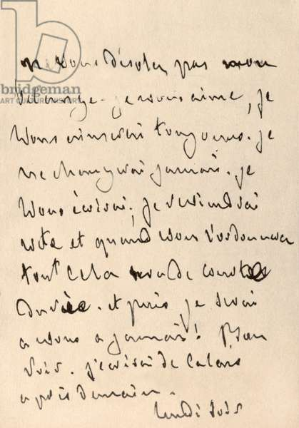 Handwritten letter from Francois-Rene de Chateaubriand (1768-1848) to Madame Recamier (1777-1849) making a declaration of love