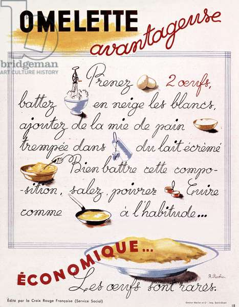 Recipe of economical omelette by French Red Cross, France, ww2