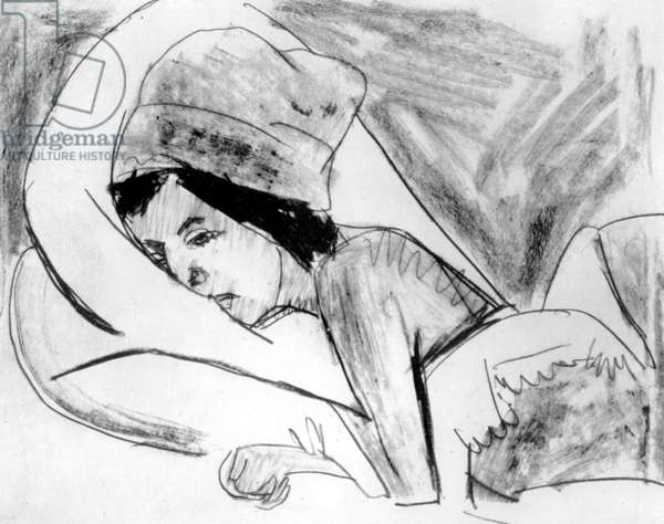 waking up, drawing by german expressionist painter and sculptor Ernst Ludwig Kirchner (1880-1938)