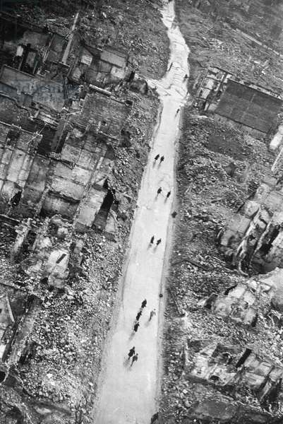 View of Caen and of Saint-Jean street in september 1944 after the liberation of the city (july9,44) and the Allied bombings