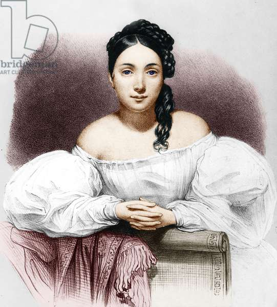Actress Juliette Drouet (1806-1883) was the mistress of Victor Hugo as soon as 1833 and until 1883, here in 1832, engraving by LeonNoel colourized document