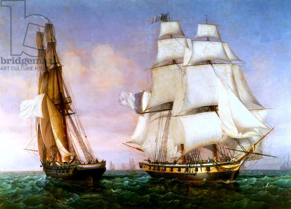 Napoleon leaving the Island of Elba, 28th February 1815 (oil on canvas)