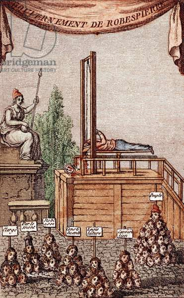 The Execution of Robespierre, on 28th July 1794 (coloured engraving)