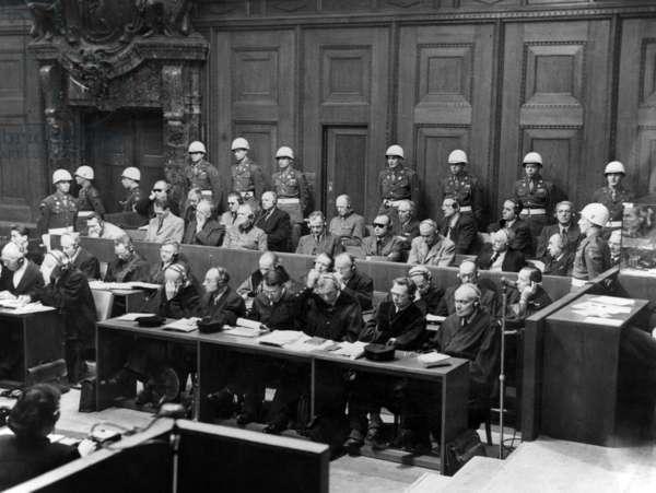 Nuremberg trial to judge former nazi leaders (l-r), first row Hermann Goering, Rudolf Hess, Joachim Von Ribbentrop, Wilhem Keitel, Alfred Rosenberg, Hans Frank, Wilhelm Frick, Julius Streicher, Walther Funk, Hjalmar Schacht, 2nd row : Karl Doenitz, Erich Raeder, Baldur von Schirach, Fritz Sauckel, Alfred Jodl, Franz von Papen , Arthur Seyss-Inquart , Albert Speer , Konstantin van Neurath , Hans Fritzsche, end of the trial 1946