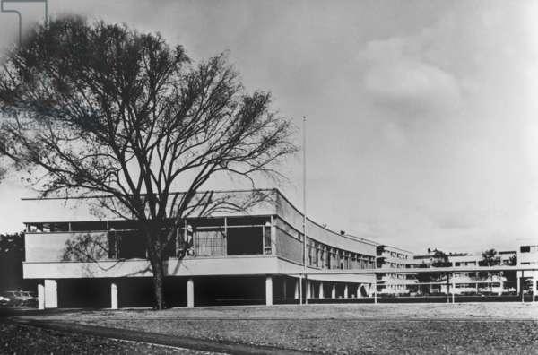 View of Harvard University (Massachusetts) designed by Walter Gropius in 1950 (Bauhaus style)