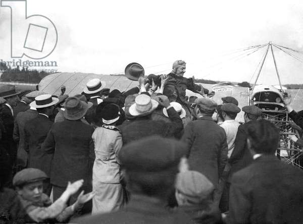 Ace aerobatics French pilot Adolphe Pegoud (1888-1915) at Buc airfield (France) after doing the 1st looping with a Bleriot monoplane on august 31, 1913