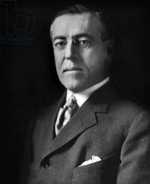 Woodrow Wilson (1856-1924) 28th american president from 1913 to 1921, here at Paris peace conference in february 1919