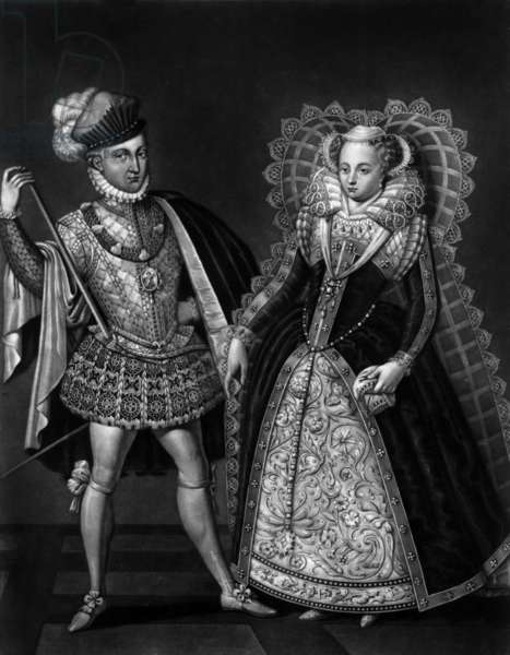 Mary Stuart (1542-1587) queen of Scots and her 2nd husband Henry Stuart, Lord Darnley, engraving