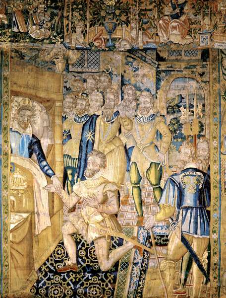 dying king Henry III entrusting his cousin Henry of Navarre with the kingdom of France august 01, 1589 , 16th century tapestry