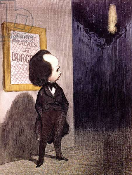 Cartoon of Victor Hugo by Honore Daumier about failure of his play Les Burgraves, 1843, engraving