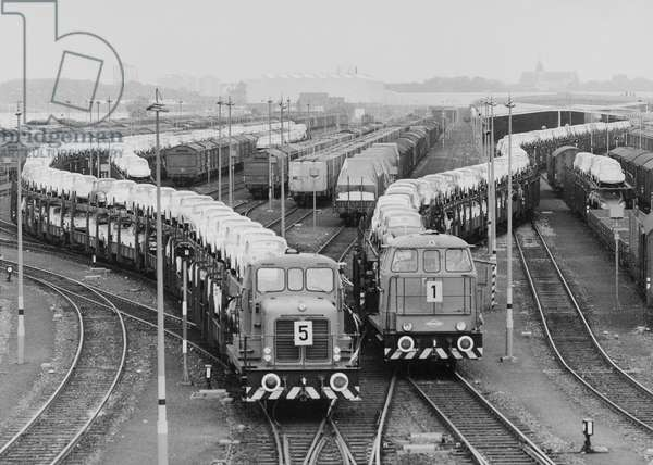 Daily Volkswagen beetles production transported by train in Wolfsburg Germany c. 1950