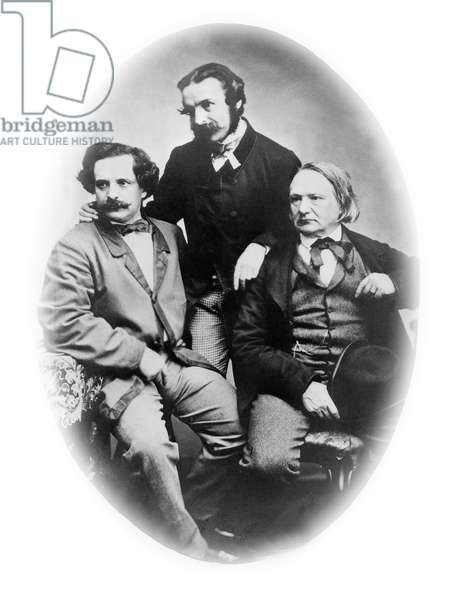 Victor Hugo (r) with his sons Charles Hugo (l, 1826-1873) and Francois-Victor Hugo (c, 1828-1873) c. 1860