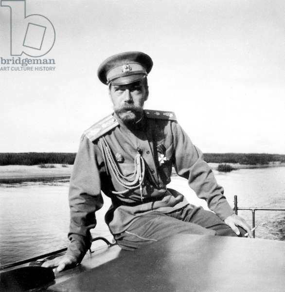 Nicolas II (1868-1918) last czar of Russia in 1894-1918, here on Driep (Drieprogues) river, 1916