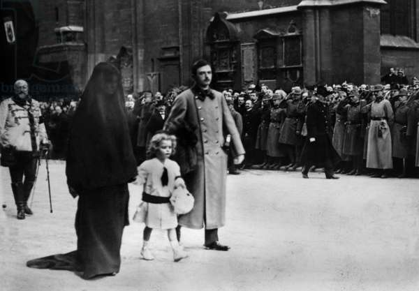 Emperor of Austria Charles 1st of Habsburg (1887-1922, son of archduke OttoofAustria) with his wife princess Zita of Bourbon Parma at the funerals of archduke Francois-Ferdinand and his wife in july 1914 they are with crown prince Otto