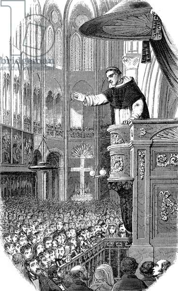 Father Lacordaire's address during Daniel O'Connell's funeral in Notre Dame, Paris 10th February, 1848 (engraving)