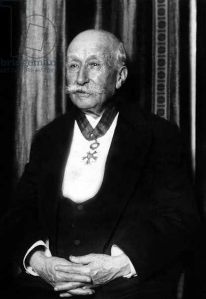 Clement Ader (1841-1925) French engineer and one of the fathers of aircraft, here c. 1915 with medal of hevalier of the Legion of Honour he had in 1909