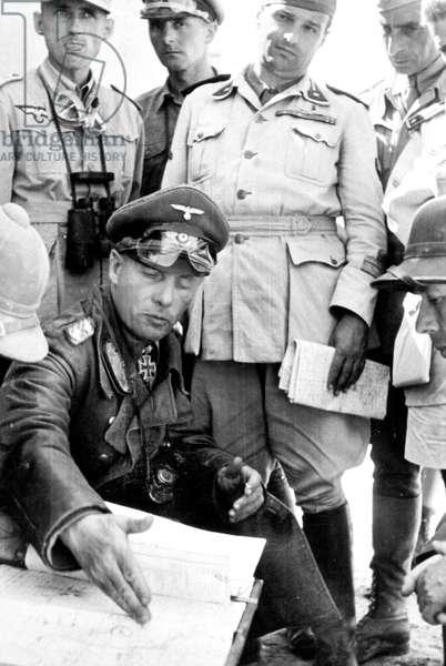 German marshal Erwin Rommel in Bir Hakeim during Libya campaign 1942