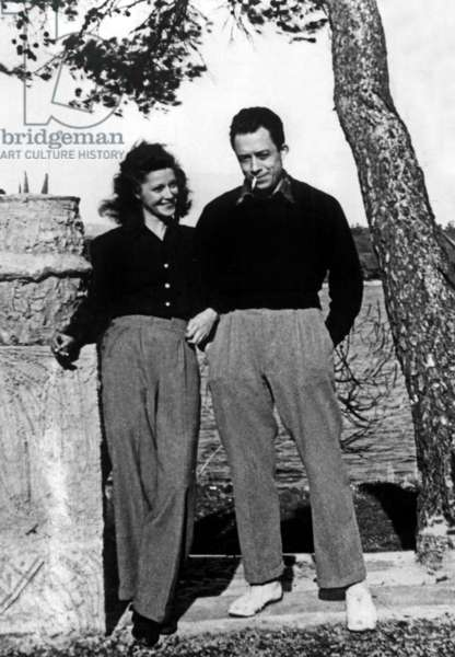 French writer Albert Camus (1913-1960) with Janine Gallimard in Cannes december 1945