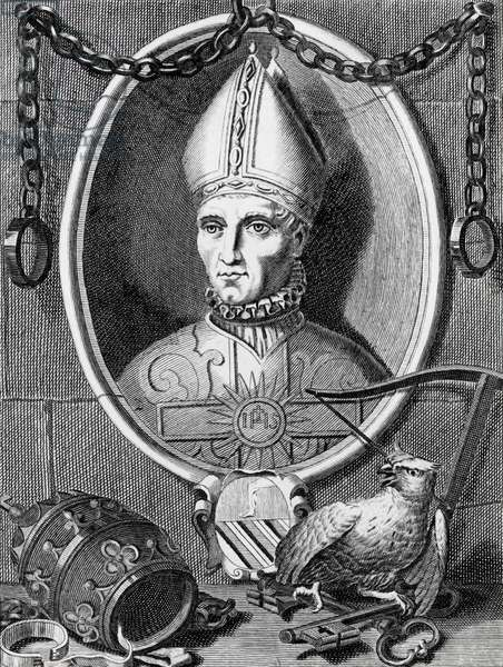Balthazar Cossa (1370-1415), former pirate, he become priest and his elected pope but no as an official (antipope) called John XXIII. Engraving