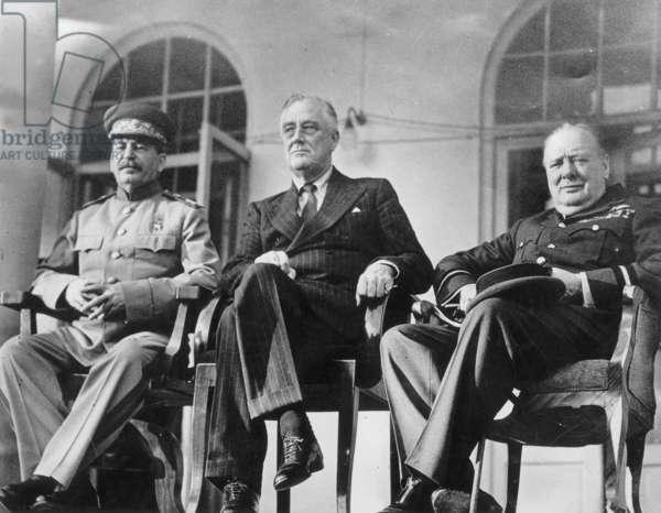 soviet leader Joseph Stalin, american president Franklin Delano Roosevelt and english prime minister Winston Churchill during the Teheran conference which took place from november 28 to december 02, 1943 (chief discussion centered on the opening of a second front in Western Europe)