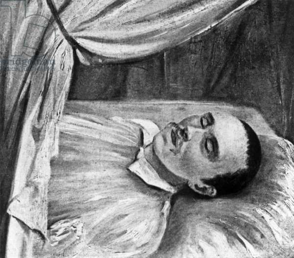 Russian writer and poet Mikhail Yurevich Lermontov (1814-1841) on his deathbed, drawing