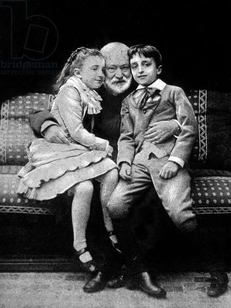 French author Victor Hugo with his grandchildren Jeanne (1869-1941) et Georges (1868-1925), CharlesHugo's children, here c. 1876