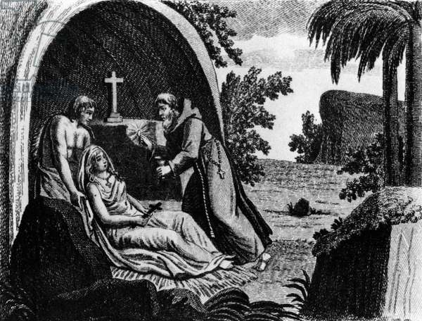 Illustration for novel Atala by Francois Rene Chateaubriand (1801) : Atala taking Communion from father Aubry in presence of Chactas, engraving