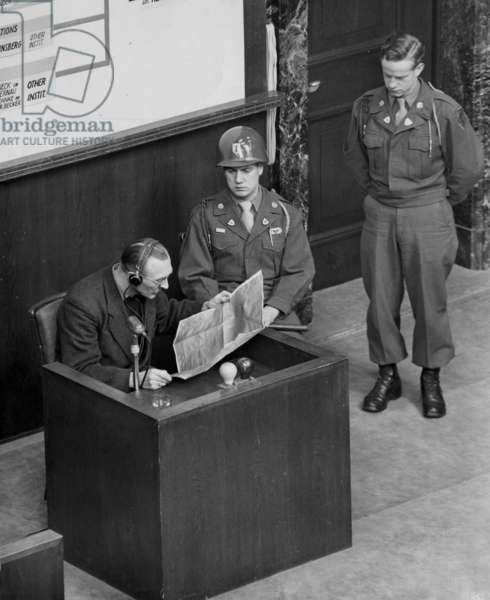 Doctors' trial in Nuremberg (1946 - 1947) : Fritz Mennecke, director of Eichberg asylum, as a witness, photo NARA