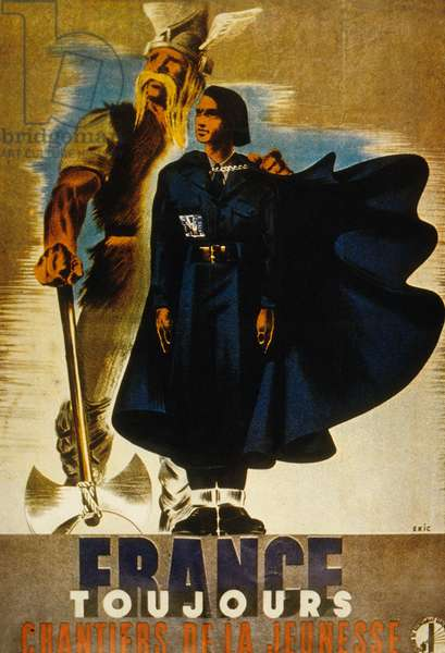 French propaganda poster of government of Vichy for youth work camps, 1940-1944