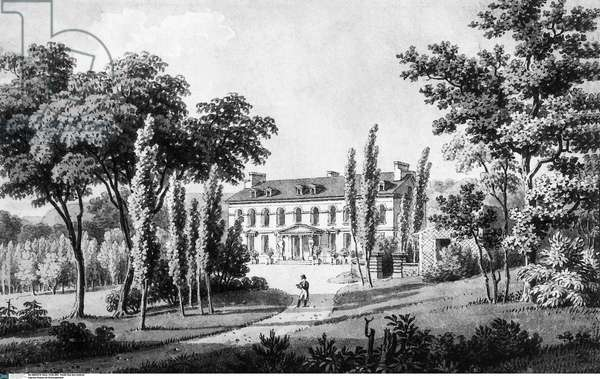 House of Francois Rene de Chateaubriand in Chatenay Malabry (France) : he lived here in 1807-1818, engraving