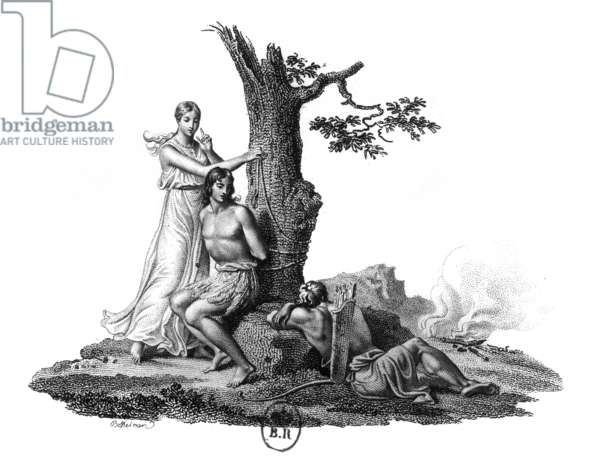 Illustration for novel Atala by Francois Rene Chateaubriand (1801) : Atala freeing Chactas, engraving