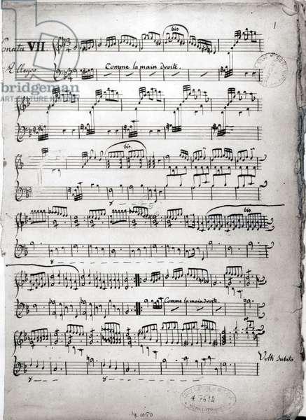 Manuscript score of a harpsichord sonata by Francois Couperin (1668-1733)