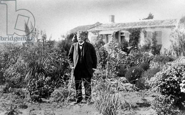 Georges Clemenceau (1841-1929) French politician at home in la Tranche Sur Mer, Vendee, 20's