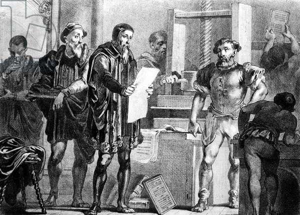 Johann Gutenberg (c.1397-1468) german inventor of the printing press, engraving (19th century)