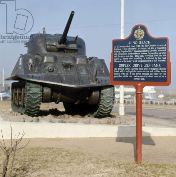 Sherman DD tank (amphibious tank) used by canadian soldiers during landing in Juno Beach (Normandy) on june 6, 1944
