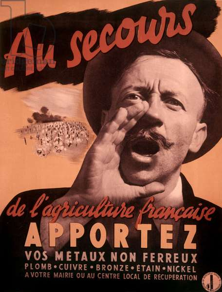 French poster for salvage of metals, ww2