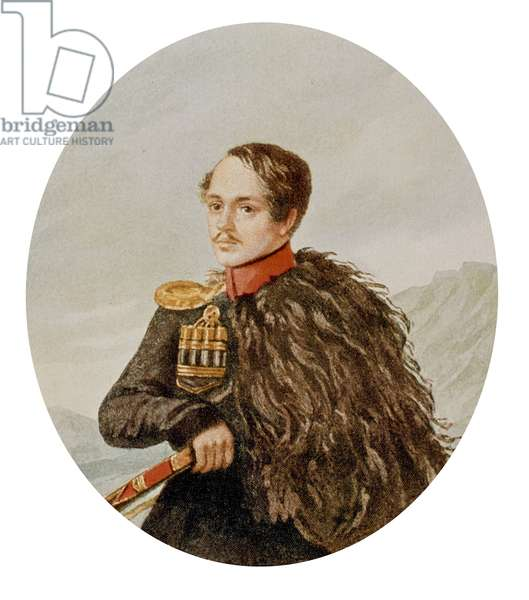 Russian writer and poet Mikhail Yurevich Lermontov (1814-1841) c. 1837 , engraving