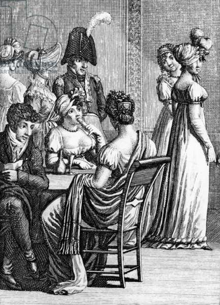 parisian salon at time of 1st empire, engraving from Goettingue Almanach, 1808